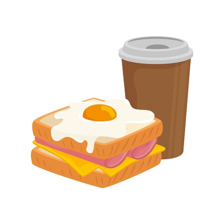 delicious sandwich with egg fried and drink isolated icon vector illustration design