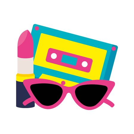 cassette music with sunglasses and lipstick pop art style icon vector illustration design