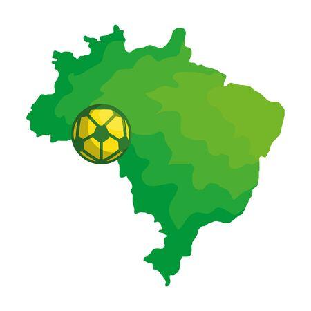 sport ball soccer with map of brazil vector illustration design