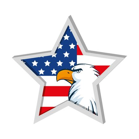 Usa eagle inside star design, United states america independence nation us country and national theme Vector illustration
