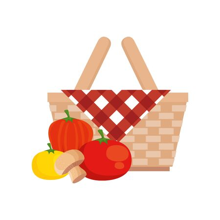 basket wicker picnic with vegetables isolated icon vector illustration design