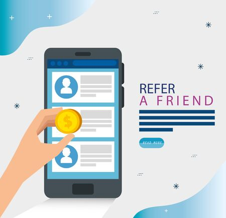 refer a friend and smartphone with chat vector illustration design
