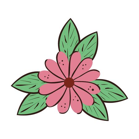 cute flower natural with leafs isolated icon vector illustration design