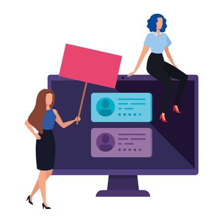 businesswomen with computer for vote online vector illustration design
