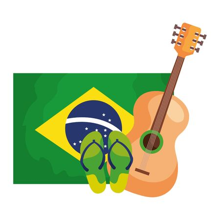 guitar and flip flops with flag brazil isolated icon vector illustration design