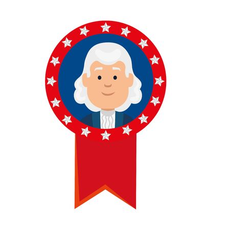 Usa president man inside seal stamp design, United states america independence nation us country and national theme Vector illustration  イラスト・ベクター素材