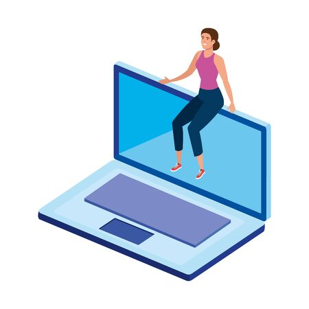 beautiful woman sitting in laptop computer vector illustration design Illustration