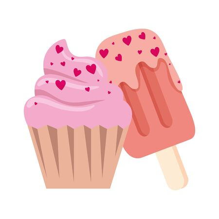 delicious cupcake with ice cream in stick isolated icon vector illustration design