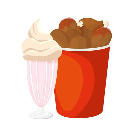 set of chicken food in container with milkshake isolated icon vector illustration design