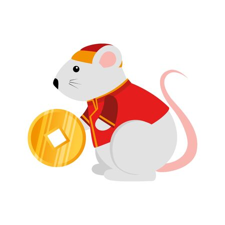 cute rodent rat with golden coin vector illustration design