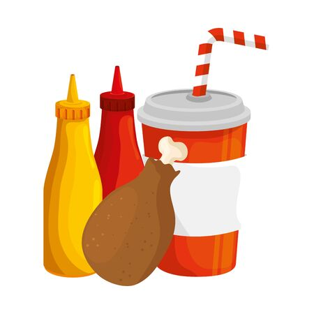 chicken delicious with bottles sauces and drink food isolated icon vector illustration design