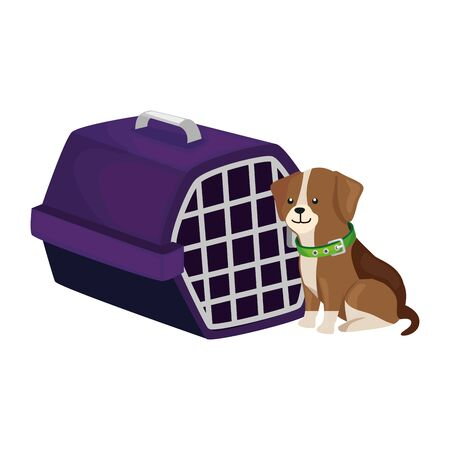 cute dog with carry box isolated icon vector illustration design