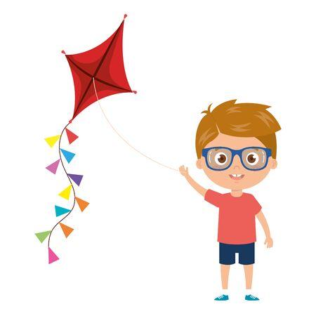 cute little boy with kite isolated icon vector illustration design 일러스트