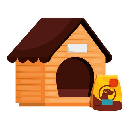 wooden dog house with bag food animal isolated icon vector illustration design Illustration