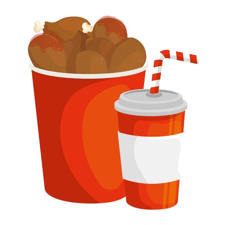 set of chicken food in container with drink isolated icon vector illustration design