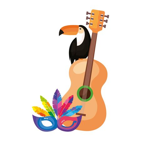 toucan with guitar and mask carnival vector illustration design