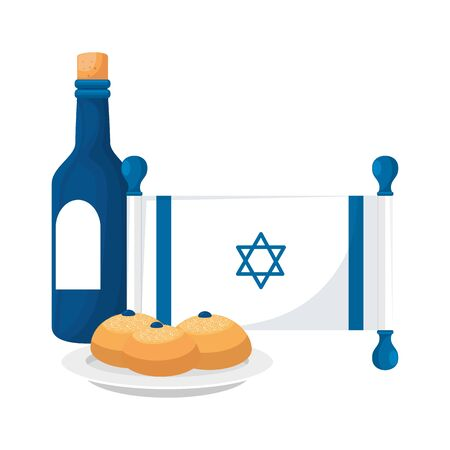 wine bottle with flag israel and breads vector illustration design Çizim
