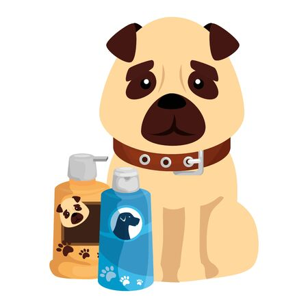 cute dog with care products isolated icons vector illustration design 向量圖像