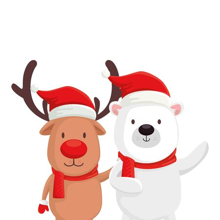 cute bear with reindeer characters merry christmas vector illustration design