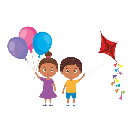 cute little children afro with kite and balloons helium vector illustration design