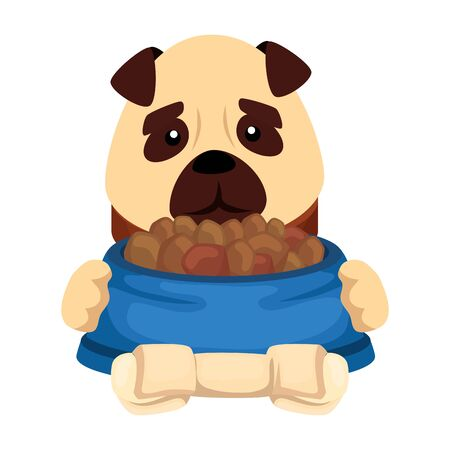 cute dog with dish food and bone isolated icon vector illustration design