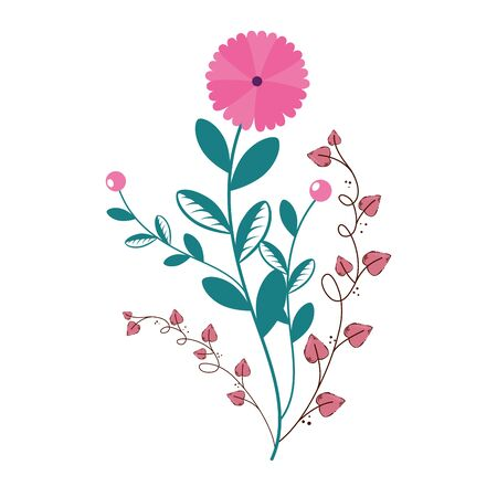 cute flower with branches and leafs isolated icon vector illustration design Ilustração