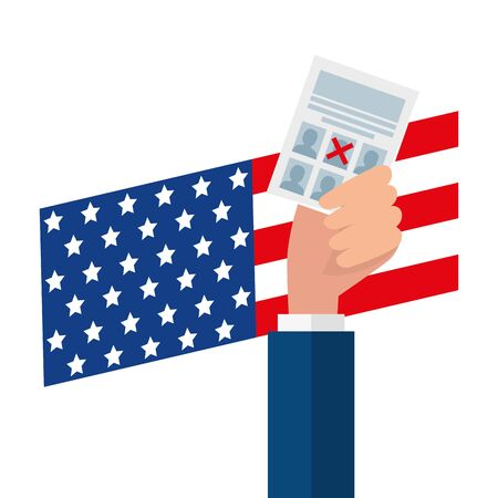 Hand holding usa vote paper design, United states america independence presidents day nation us country and national theme Vector illustration