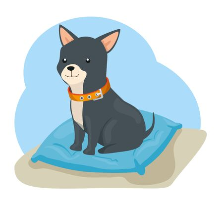 cute dog animal with collar in cushion vector illustration design 向量圖像
