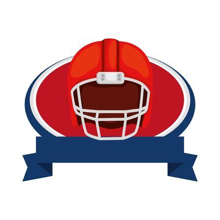american football helmet with ribbon isolated icon vector illustration design Stock Illustratie