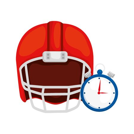 chronometer with american football helmet isolated icon vector illustration design