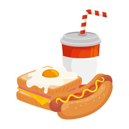 delicious sandwich with hot dog and drink isolated icon vector illustration design Иллюстрация