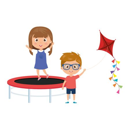 cute little children with trampoline jump and kite vector illustration design