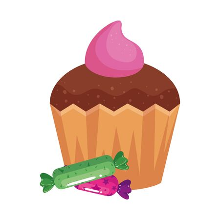 delicious cupcake with candies isolated icon vector illustration design 向量圖像