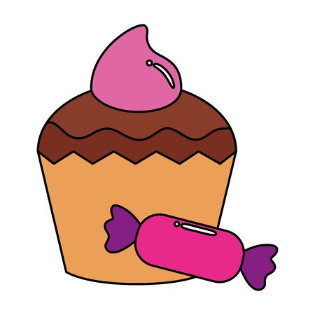 delicious cupcake with candy isolated icon vector illustration design