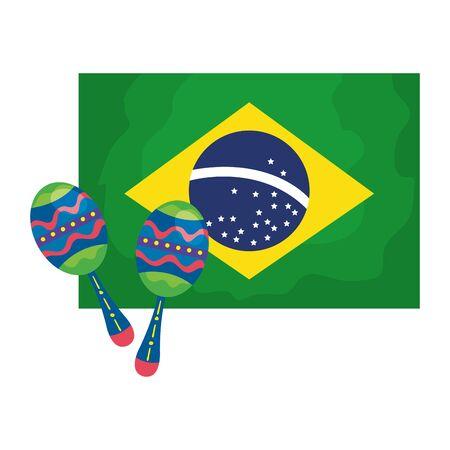 maracas with flag brazil isolated icon vector illustration design