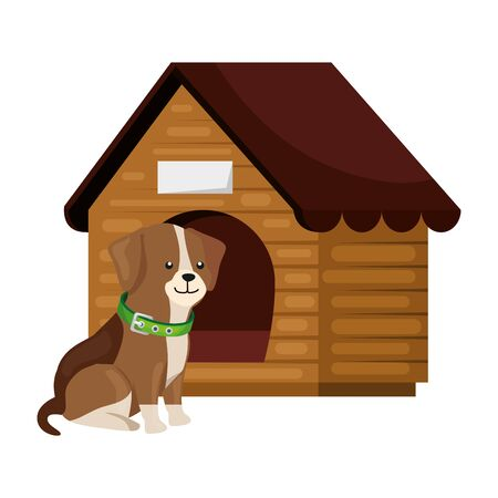 cute dog with wooden house isolated icon vector illustration design