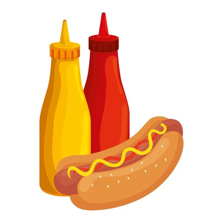 delicious hot dog with bottles sauces fast food icon vector illustration design Illustration