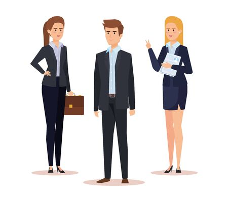 professional businesswomen and businessman with briefcase and documents vector illustration