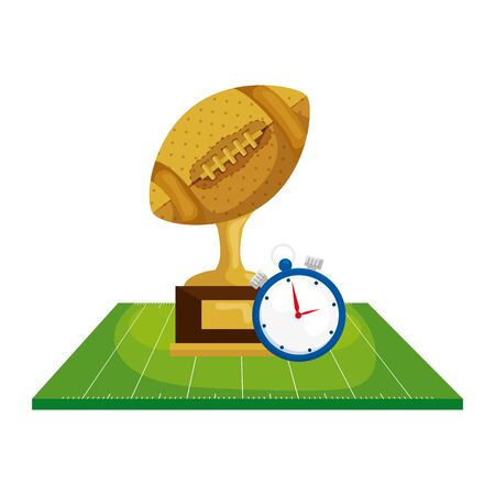 trophy with chronometer in field american football vector illustration design