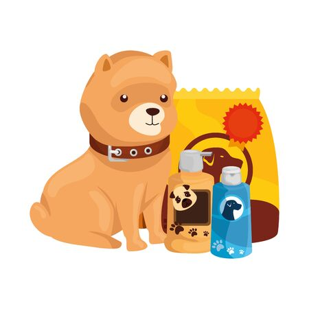 cute dog with bag food and icons vector illustration design