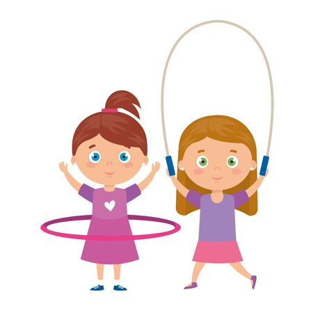 cute little girls with jump rope and hula hula vector illustration design