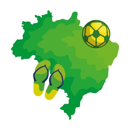 ball soccer and flip flops with map of brazil vector illustration design Stock Illustratie