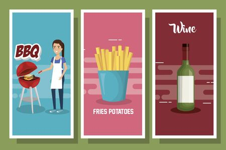 set designs of picnic with woman and food vector illustration design Standard-Bild - 140255996