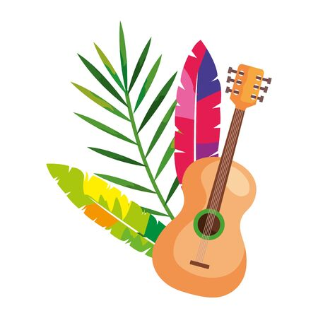 guitar with exotic feathers and tropical leaf vector illustration design