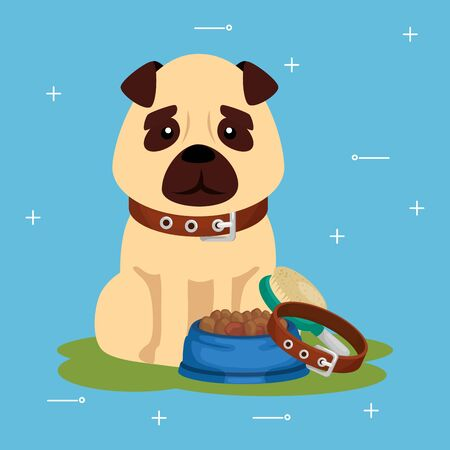 cute dog with dish food and collar vector illustration design