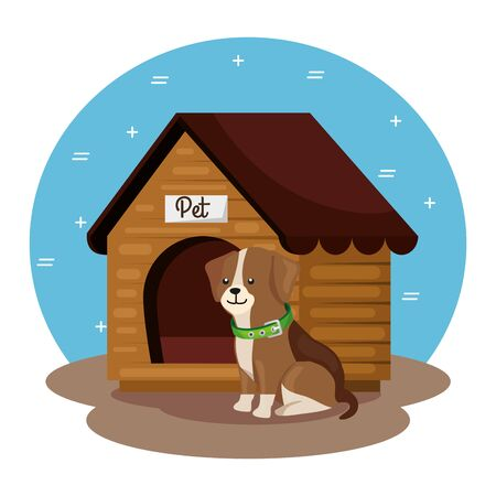 cute dog with wooden house vector illustration design
