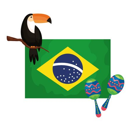 toucan and maracas with flag brazil vector illustration design
