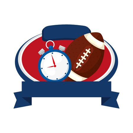 american football helmet and chronometer with ribbon isolated icon vector illustration design