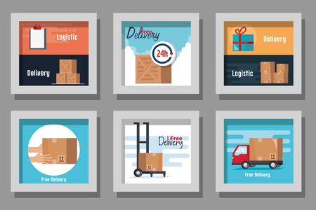 Frames set design, Delivery logistics transportation shipping service warehouse industry and global theme Vector illustration