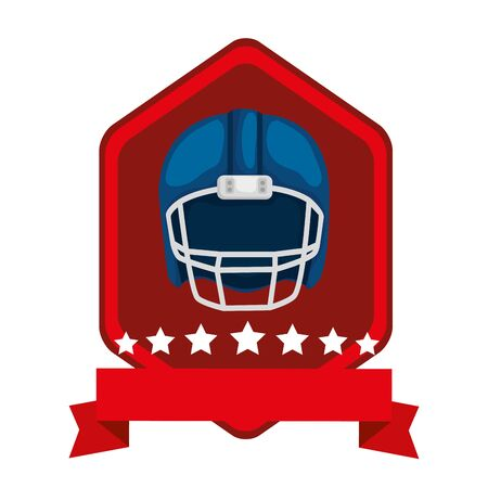 emblem with american football helmet isolated icon vector illustration design